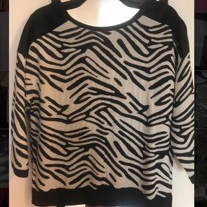 Trouve Zebra Print 3/4 Sleeve Top W/Faux Leather